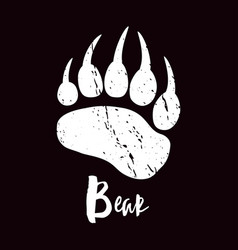 a trace a bear white silhouette of paw vector image
