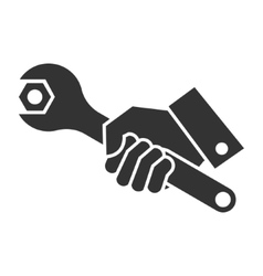 black of hand holding wrench vector image vector image