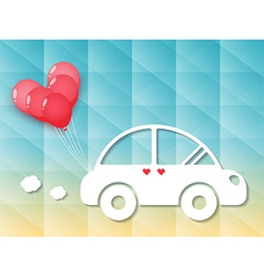 Car with red heart balloons vector