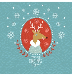 Cute Christmas Deer portrait vector image vector image