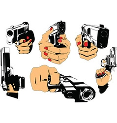 Gun and hand cartoon elements vector image vector image
