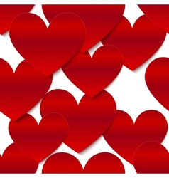 Red glossy paper hearts at white background vector image vector image
