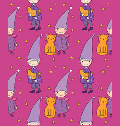 seamless pattern with cute gnome cat and bird vector image