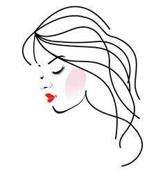 a girl with wavy hair- Beauty logo vector image vector image