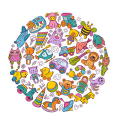childrens toys icon set in circle shape doodle vector image