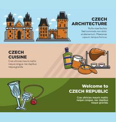 czech travel tourism landmarks and culture famous vector image vector image