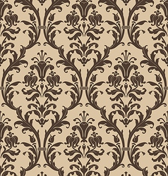 Damask seamless pattern in brown and beige vector image vector image