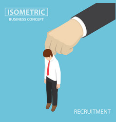 isometric businessman being picked up by big hand vector image