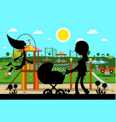 kids playground in park with mother and child vector image