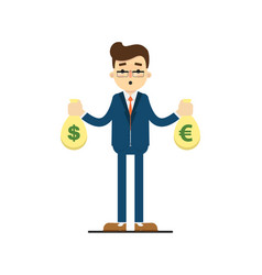 young businessman hold bags of money vector image