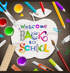 back to school - greeting vector image