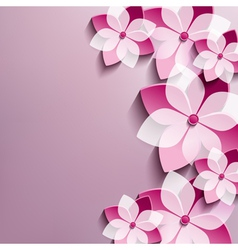 Floral festive background with pink 3d flowers vector image vector image