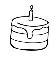 Pie sketch style cake doodle vector image vector image