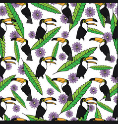 tropical seamless pattern with toucans green vector image