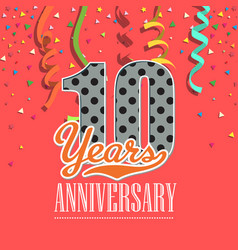 10 years anniversary colorful ribbon red backgroun vector image