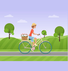 cheerful woman with flowers in the basket riding a vector image