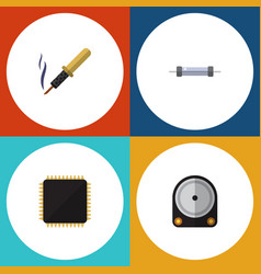 Flat icon appliance set of cpu resistor hdd and vector