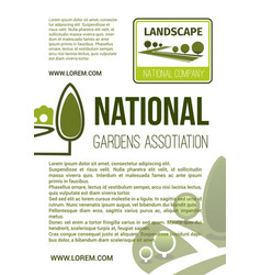 garden landscape company poster vector image vector image