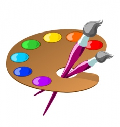 palette and brushes vector image