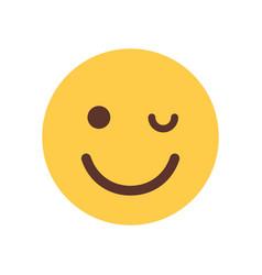 yellow smiling cartoon face winking emoji people vector image