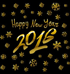 2016 Happy New Year golden glowing vector image