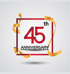 45 anniversary design with red color in square vector