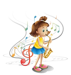 A talented child with a saxophone vector image