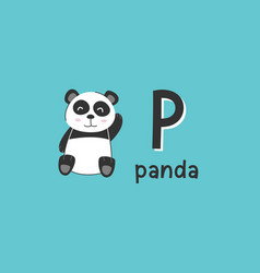 alphabet letter p and panda vector image