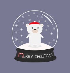 arctic polar baby bear cub in red santa hat cute vector image