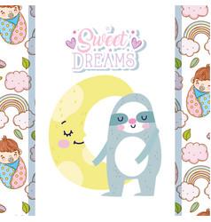 Bashower cute sloth and half moon cartoon vector