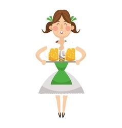 bavarian woman with beer icon vector image