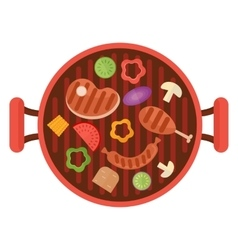 Bbq grill pan with vegetables vector