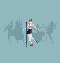 beautiful and tattooed pin-up girl singing with vector image