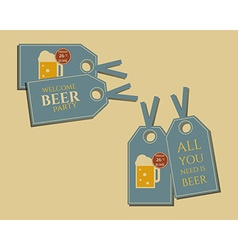 Beer party stickers and labels invitation template vector