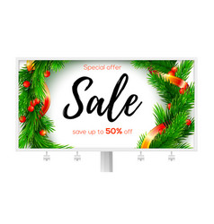 Billboard with ads of winter sale up to fifty vector