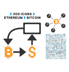 Bitcoin dollar flow chart flat icon with vector