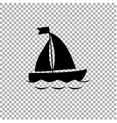 black silhouette of sailing ship icon on vector image