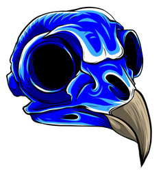 blue bird tattoo skull vector image