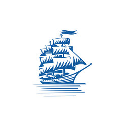 blue vintage sailing ship seafaring sailer vector image
