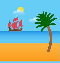 Boat on beach with palm and clouds vector