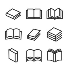 book line style icons set on white background vector image