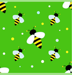 Bright striped bee on a green background children vector