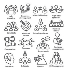 business management line icons pack 33 vector image