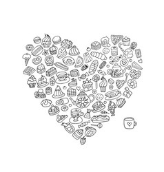 Cakes and sweets collection heart shape for your vector
