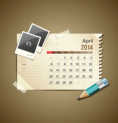 Calendar April 2014 vector image