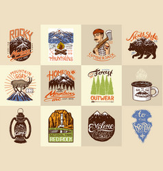 Camping logo and labels mountains and lumberjack vector