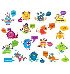 Cartoon silly monsters with funny inscriptions vector