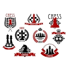 Chess icons with red and black chessmen vector image