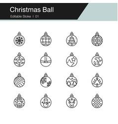 christmas ball icons modern line design for vector image