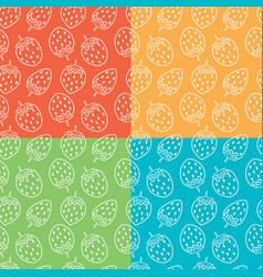 collection seamless repeating strawberry vector image